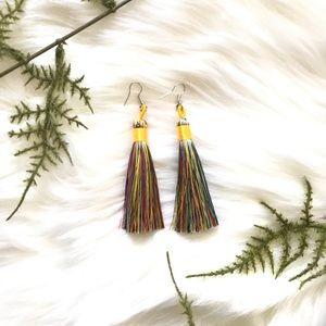Tassel Statement Earrings Multi Colored